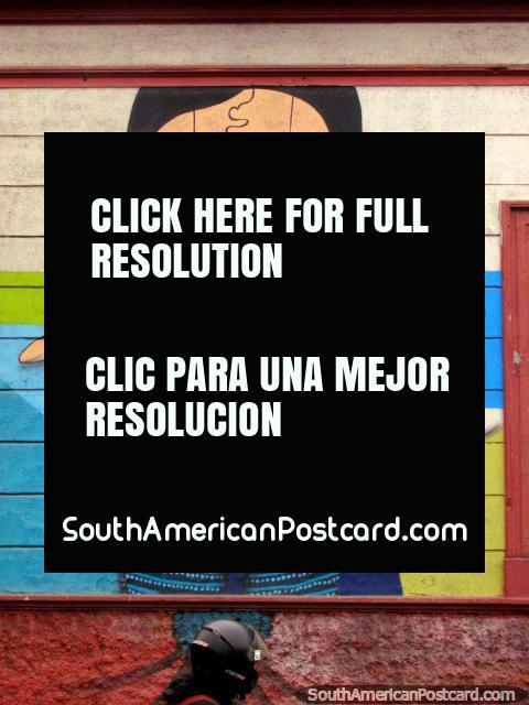 Arte de la pared agradable de una mujer en camisa rosada y morada en Bellavista, Santiago. (480x640px). Chile, Sudamerica.