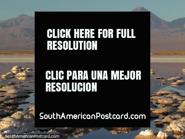Crusty salt islands and distant mountains, a lagoon between at San Pedro de Atacama. (640x480px). Chile, South America.