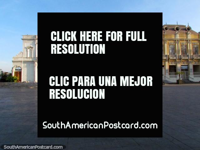 Plaza Prat and the historical buildings on one side in Iquique. (640x480px). Chile, South America.