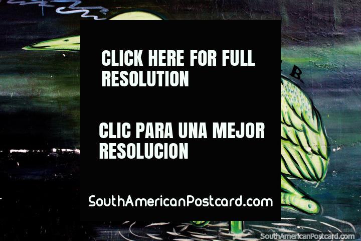 ¿Es esto un flamenco verde? Arte callejero en Valdivia. (720x480px). Chile, Sudamerica.