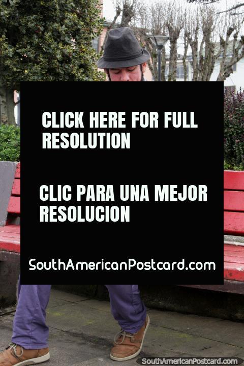 El hombre con un sombrero toca un acordeón en la plaza de Puerto Montt. (480x720px). Chile, Sudamerica.