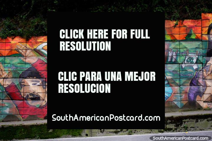 Masacre de Pampa Irigoin (1969), arte callejero en las afueras de Puerto Montt. (720x480px). Chile, Sudamerica.