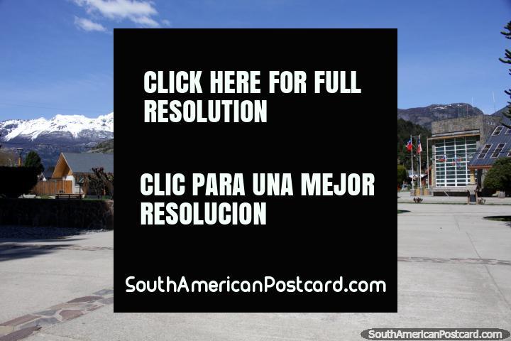 Plaza de Armas in Futaleufu, the main square. (720x480px). Chile, South America.