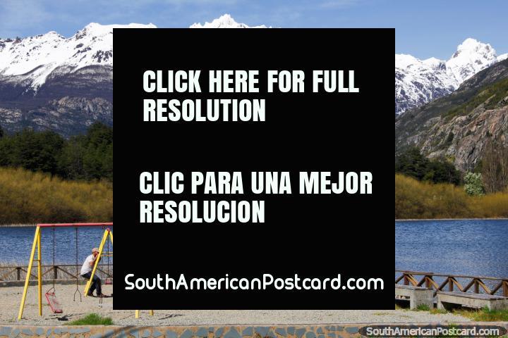 Laguna Espejo (Mirror Lagoon) in Futaleufu, a beautiful place with a kids park. (720x480px). Chile, South America.