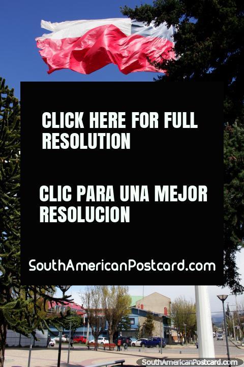 Bandera Chilena que vuela alto en el viento en la Plaza Mirador Rio Coyhaique en Coyhaique. (480x720px). Chile, Sudamerica.