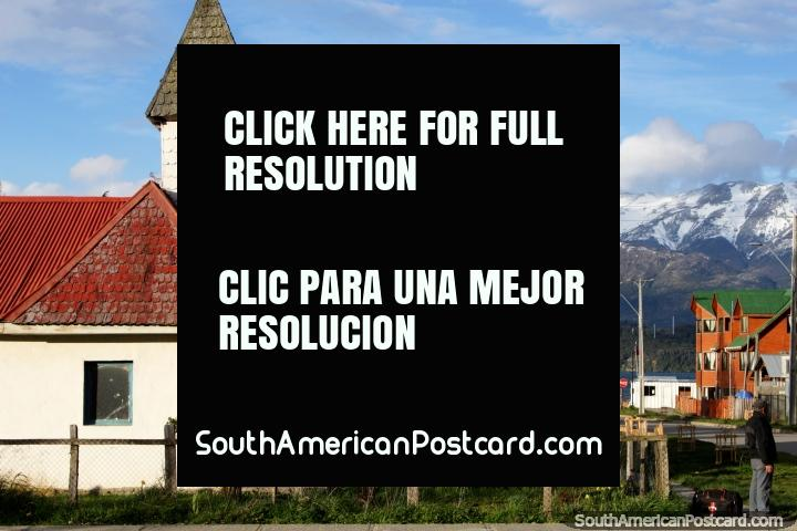Church and street down to the lake in Puerto Rio Tranquilo, a small peaceful town. (720x480px). Chile, South America.