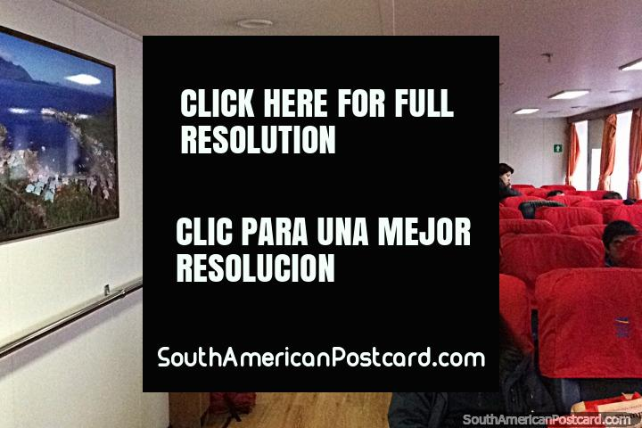 Inside the passenger lounge of the huge ferry to Quellon from Puerto Chacabuco. (720x480px). Chile, South America.