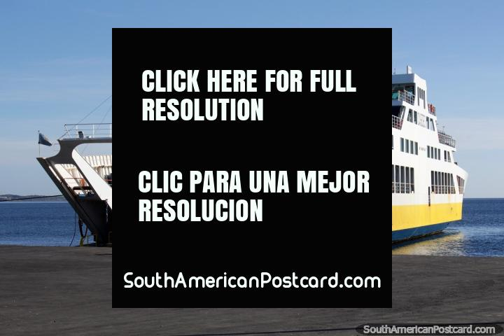 Ferry to travel from Punta Arenas to Porvenir takes 2hrs. (720x480px). Chile, South America.