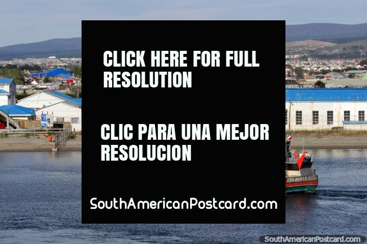 Port in Punta Arenas, heading by ferry across the Strait of Magellan to Porvenir. (720x480px). Chile, South America.