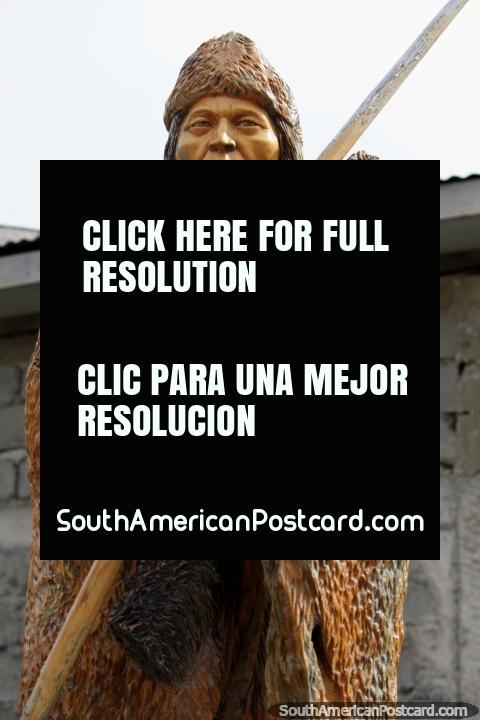 Selknam hunter, the original inhabitants of Isla Grande, the main island in the Tierra del Fuego. (480x720px). Chile, South America.