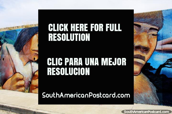 Selknam hunters, the original inhabitants of the Tierra del Fuego, mural in Bahia Azul. (720x480px). Chile, South America.