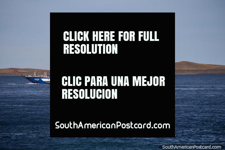 Pionero Punta Arenas, ship crosses the waters between Punta Delgada and Bahia Azul. (720x480px). Chile, South America.