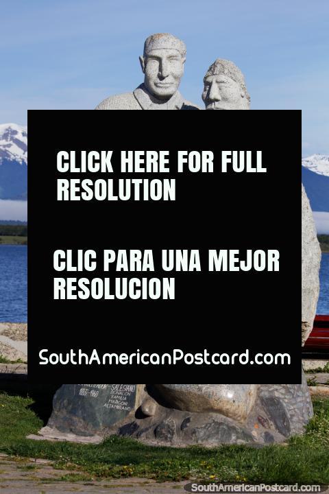 Alberto de Agostini, scientist and explorer (1883-1960), stone monument in Puerto Natales. (480x720px). Chile, South America.
