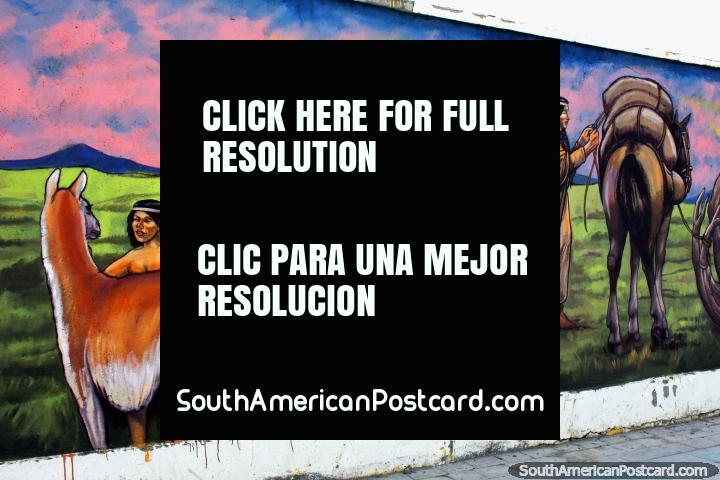 Ã�ndios indïgenas com cavalos e ocaso ïgneo, mural por Eladio Godoy Vera em Porto Natales. (720x480px). Chile, América do Sul.