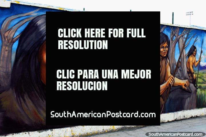 Ethnic murals on Avenida Santiago Bueras in Puerto Natales by Eladio Godoy Vera. (720x480px). Chile, South America.