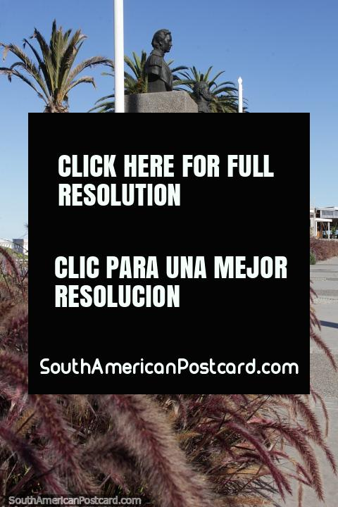 Monuments, purple flower garden and palm trees near the beach in Vina del Mar. (480x720px). Chile, South America.
