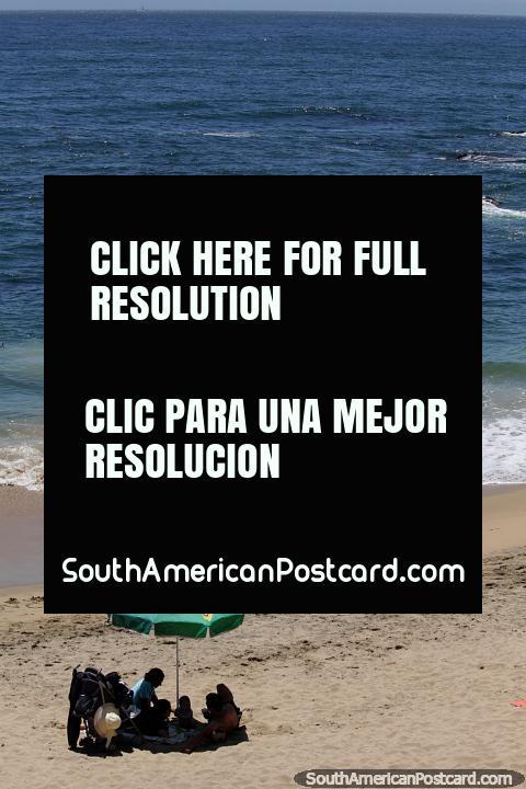 Dia lindo da praia na cidade central em Viña del Mar. (480x720px). Chile, América do Sul.