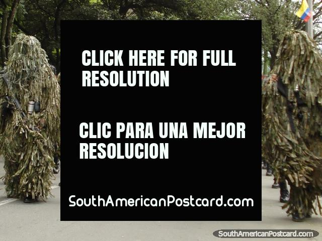 Colombia Army in camouflage suits on parade in Medellin. (640x480px). Colombia, South America.