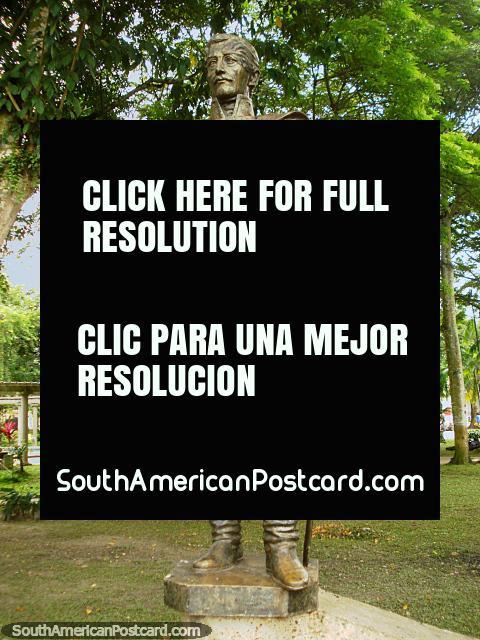 Military leader Francisco de Paula Santander (1792-1840) monument in Leticia. (480x640px). Colombia, South America.