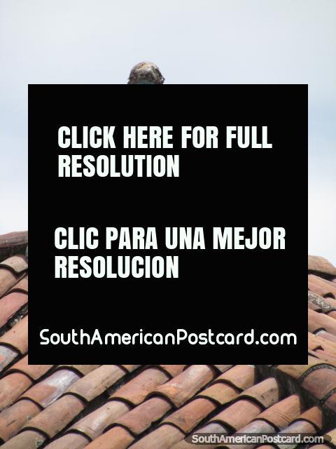 Escultura del hombre sentado en un techo de tejas en la esquina de la Plaza Bolívar en Bogotá. (480x640px). Colombia, Sudamerica.