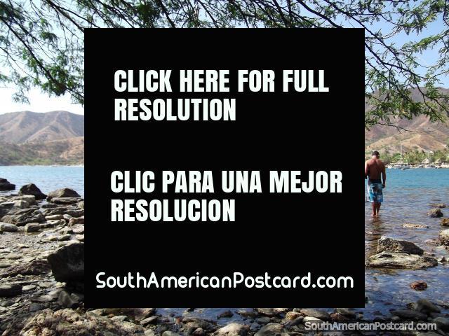 Árboles, rocas, sombra y agua, escena encantadora de Taganga. (640x480px). Colombia, Sudamerica.