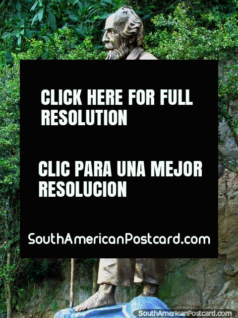 Manuel de Rivera, the blind man, monument at Las Lajas, Ipiales. (480x640px). Colombia, South America.