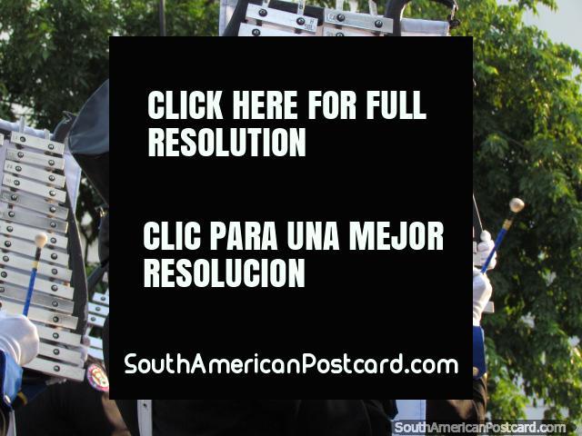 Banda Ciudad de Santa Marta play xylophones. (640x480px). Colombia, South America.