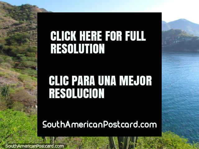 The beautiful coastline with cactus, hills and water east of Taganga. (640x480px). Colombia, South America.