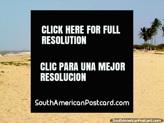 Long wide white sandy beach at Camarones in the far north east. (640x480px). Colombia, South America.