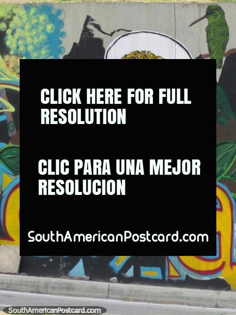 El Indio de la coca, graffiti de la pared en Bogotá. (480x640px). Colombia, Sudamerica.