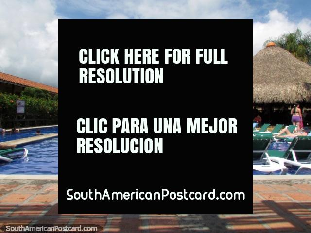 The big blue swimming pool at Decameron Panaca in Armenia. (640x480px). Colombia, South America.