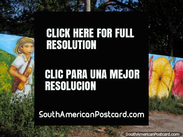Colorido mural de bailarines en trajes tradicionales en Valledupar. (640x480px). Colombia, Sudamerica.