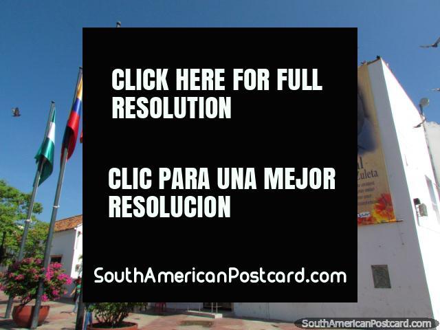 Alcaldia de Valledupar, local government buildings in Valledupar and banner of singer Anibal Martinez Zuleta. (640x480px). Colombia, South America.