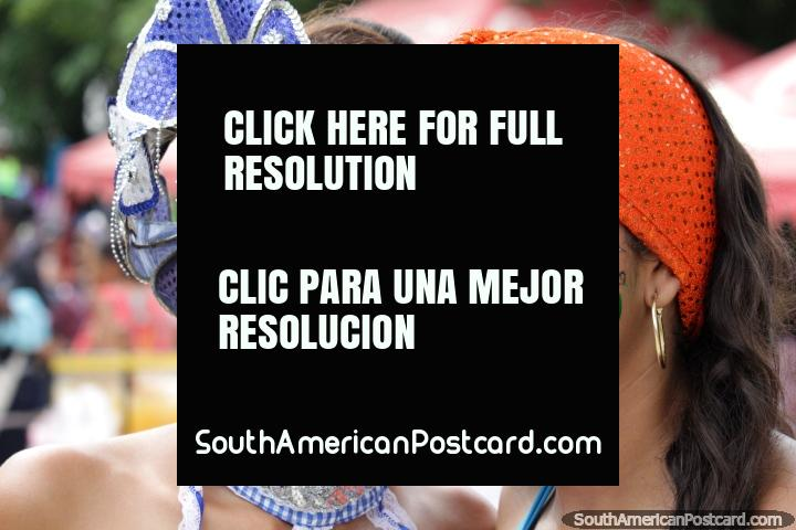 A pair of young women with beautiful makeup are ready for the parades in Santa Marta, the Festival of the Sea. (720x480px). Colombia, South America.