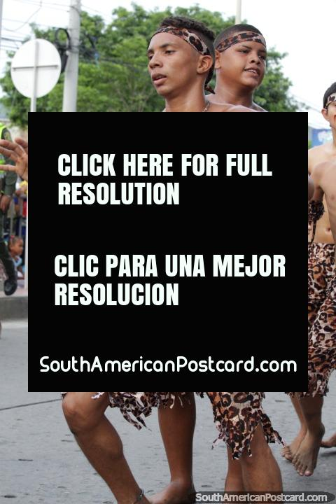 Young man with good abs, tiger pattern clothes, Festival of the Sea, Santa Marta. (480x720px). Colombia, South America.