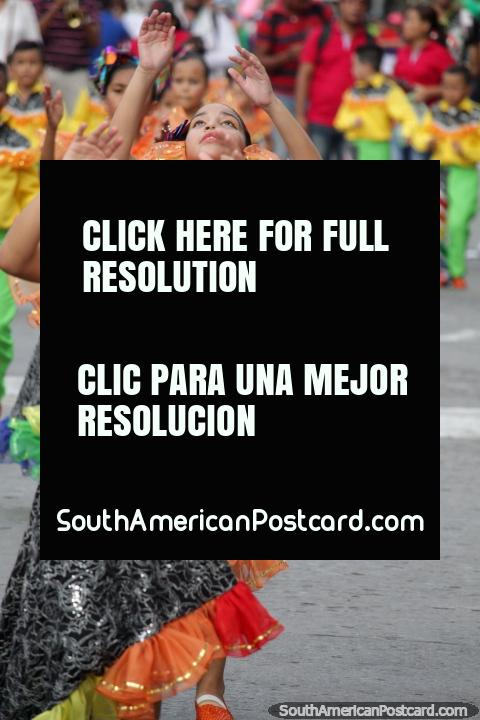 Young women perform in the Festival of the Sea in Santa Marta 2016. (480x720px). Colombia, South America.
