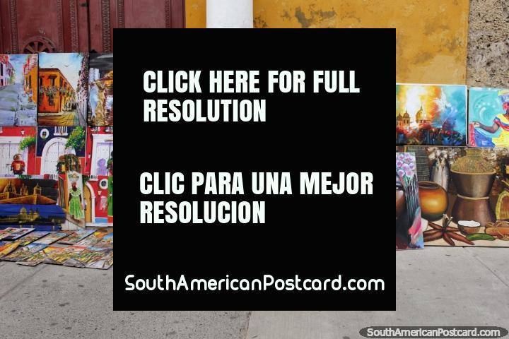 Fantastic paintings for sale on the streets in Cartagena. (720x480px). Colombia, South America.