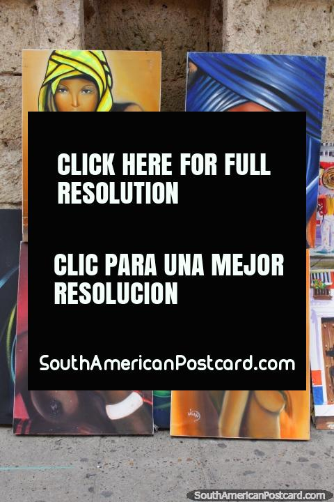 4 women with head-wraps, colorful set of paintings for sale in Cartagena. (480x720px). Colombia, South America.