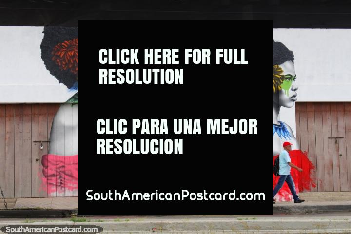 Mural of 3 women wearing different colors, pink, yellow and red, downtown Cartagena. (720x480px). Colombia, South America.
