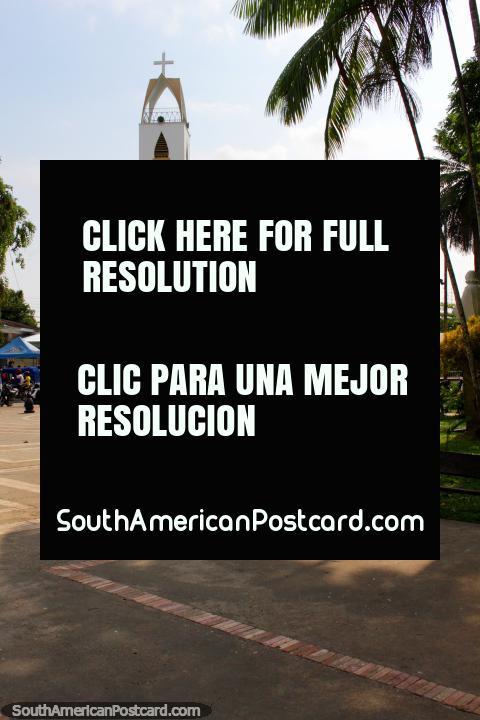 Parroquia Nuestra Senora de La Paz, the church in Leticia beside Santander Park. (480x720px). Colombia, South America.