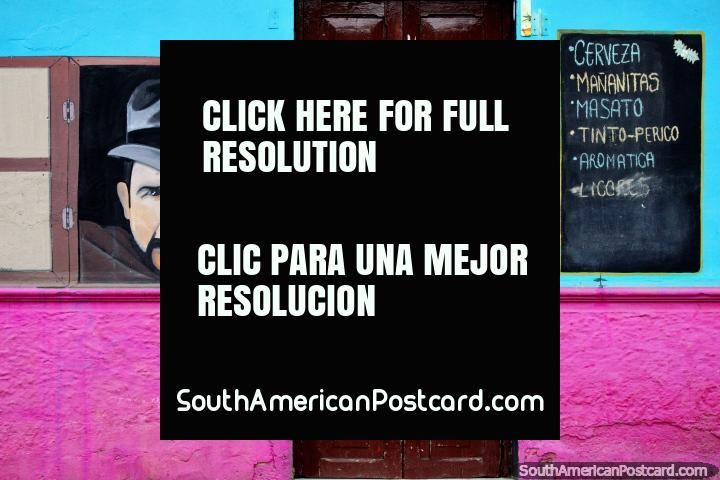 Jorge Velosa (b.1949), musician born in Boyaca, plays folk music called Carranga, street art in Tunja. (720x480px). Colombia, South America.