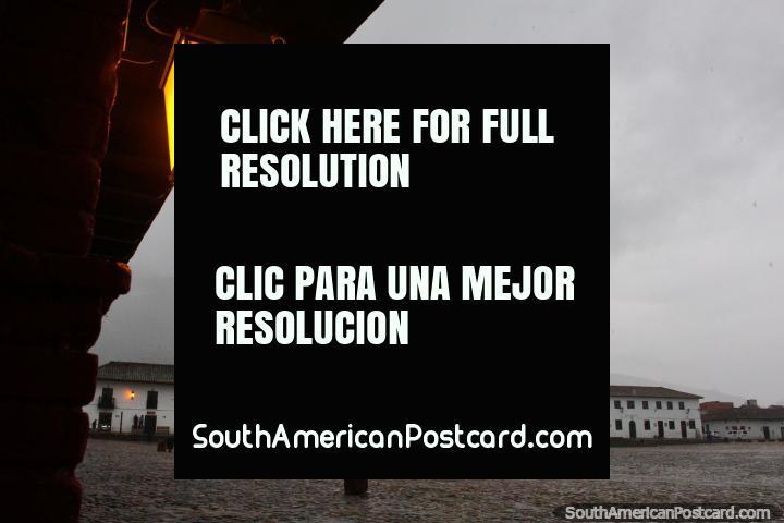 Founded by Andre Diaz Venero de Leyva in 1572, altitude 2149m, Villa de Leyva, Plaza Mayor. (720x480px). Colombia, South America.