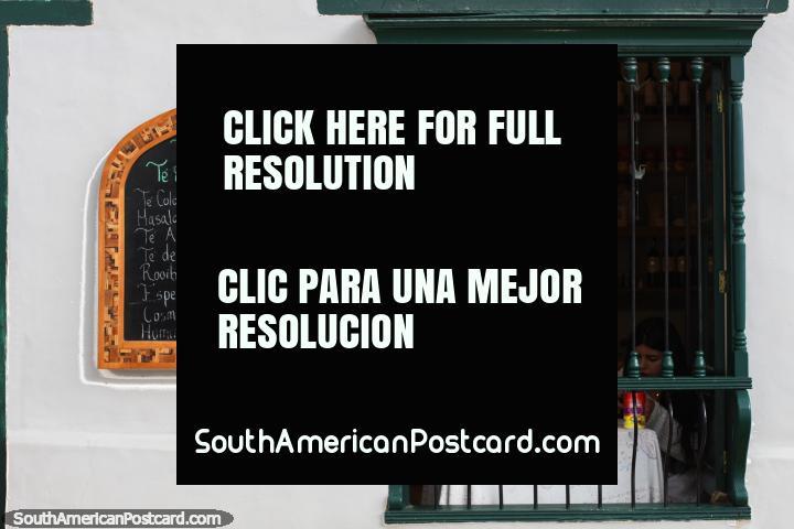 Shop selling specialist teas like Blue tea and Coca tea, Villa de Leyva. (720x480px). Colombia, South America.