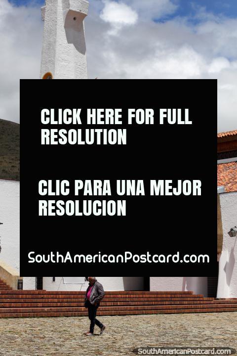Parroquia Nuestra Senora de los Dolores (1991), church and tower in Guatavita. (480x720px). Colombia, South America.