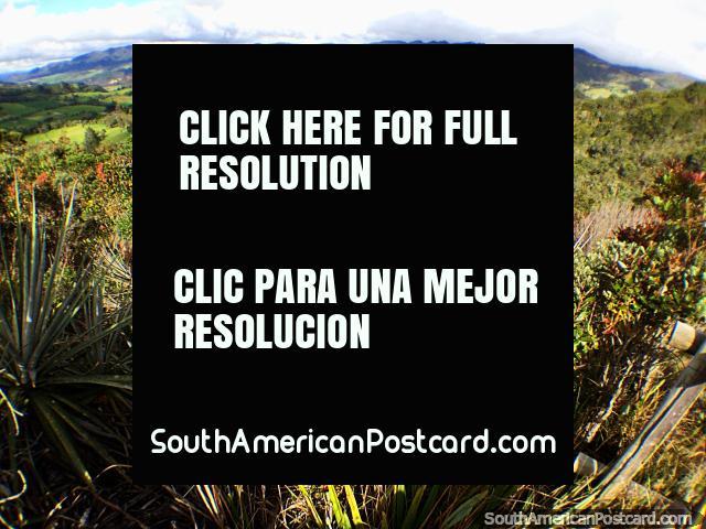 Increíble campo verde y colinas distantes alrededor de Guatavita, vista desde la laguna. (640x480px). Colombia, Sudamerica.