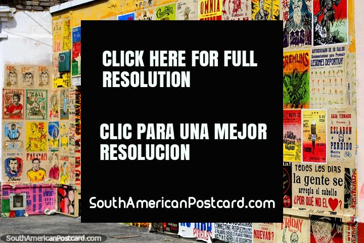 Shopfront covered with colorful posters in the San Antonio Neighborhood in Cali. (720x480px). Colombia, South America.