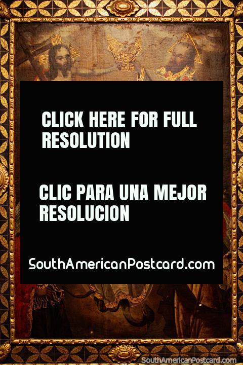 Coronación de la inmaculada concepción, pintura antigua en el Museo de Arte Religioso La Merced en Cali. (480x720px). Colombia, Sudamerica.