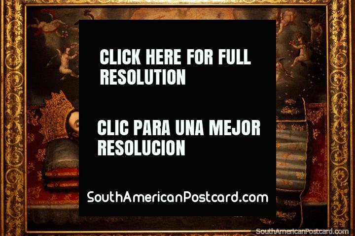 Dormición de la Virgen, pintura antigua en el Museo de Arte Religioso La Merced en Cali. (720x480px). Colombia, Sudamerica.