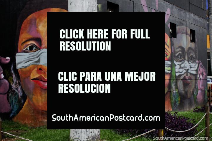 Mural profissional de 4 homens indïgenas, arte de rua espetacular em Cali por Anck Millan. (720x480px). Colômbia, América do Sul.