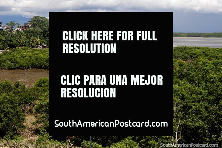 La costa verde en Buenaventura con chalets de playa de madera sobre pilotes en la distancia. (720x480px). Colombia, Sudamerica.